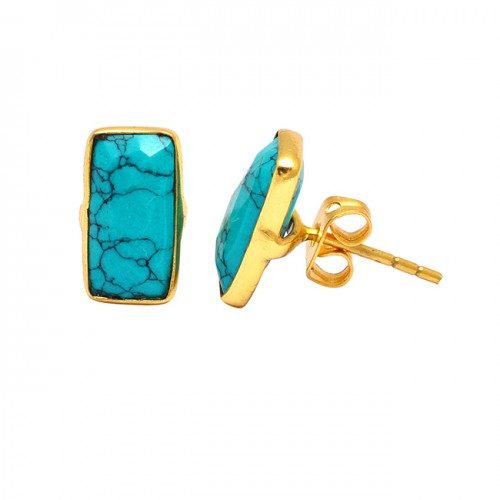 Rectangle Shape Turquoise Gemstone 925 Sterling Silver Gold Plated Stud Earrings
