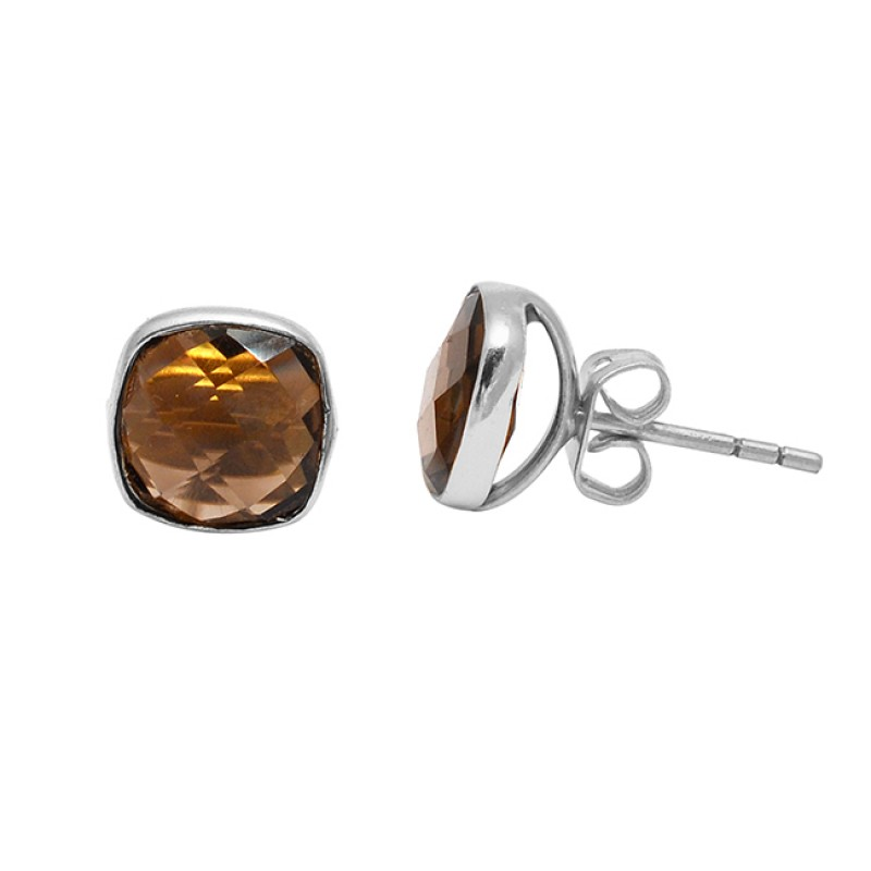 Cushion Shape Smoky Quartz Gemstone 925 Sterling Silver Gold Plated Stud Earrings