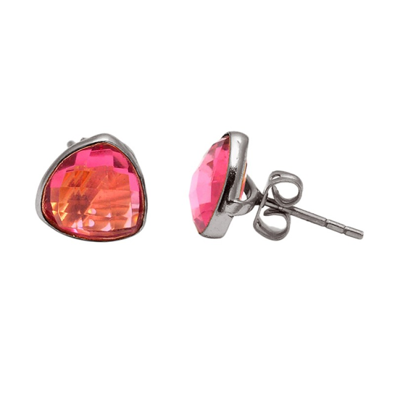 Triangle Shape Pink Quartz Gemstone 925 Sterling Silver Gold Plated Stud Earrings