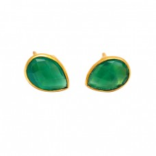Pear Shape Green Onyx Gemstone 925 Sterling Silver Gold Plated Stud Earrings