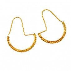 Latest Plain Designer Handmade 925 Sterling Silver Gold Plated Hoop Earrings