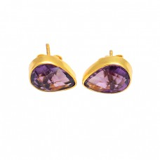 Pear Shape Amethyst Gemstone 925 Sterling Silver Gold Plated Handmade Stud Earrings