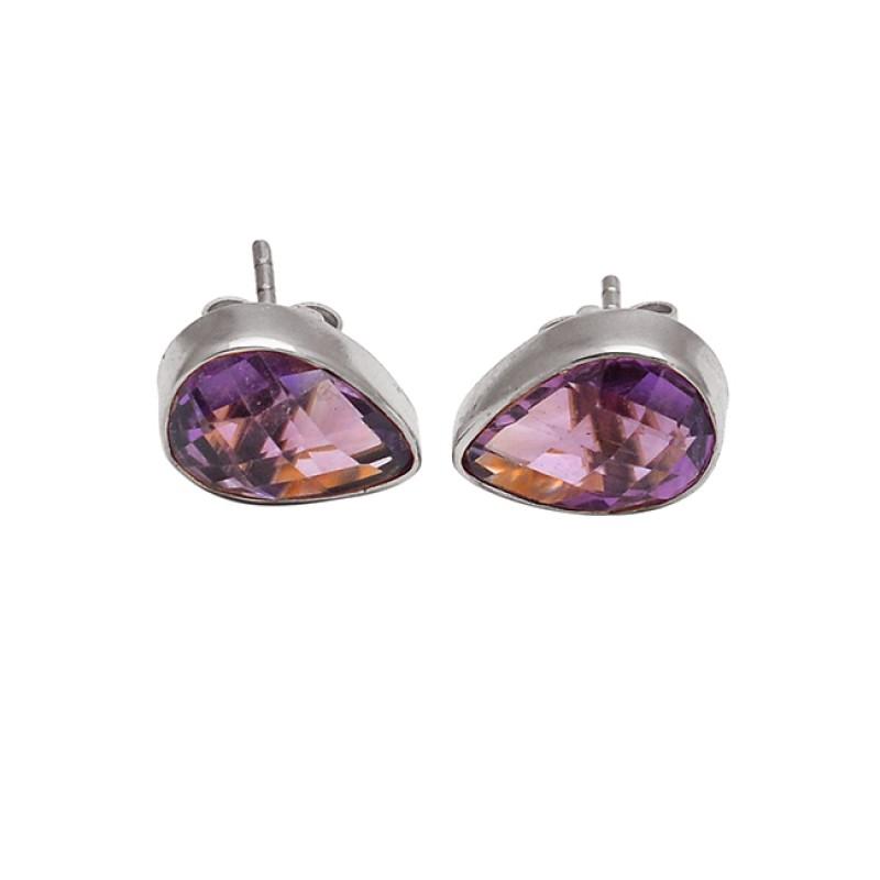 Pear Shape Amethyst Gemstone 925 Sterling Silver Gold Plated Handmade Stud Earrings