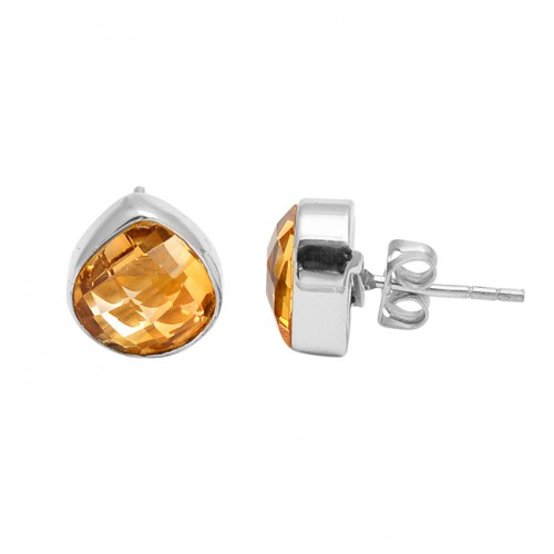 Briolette Heart Shape Citrine Gemstone Handcrafted Gold Plated Stud Earrings