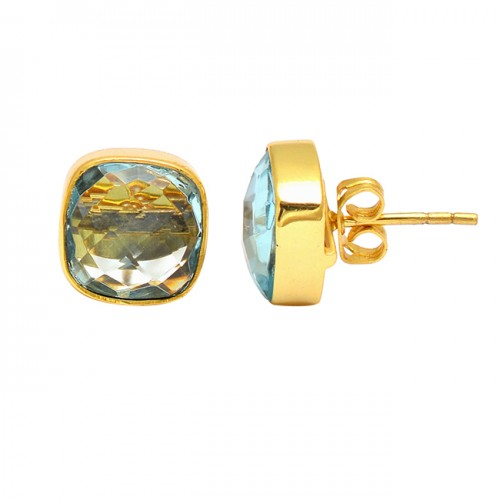 Cushion Shape Blue Topaz Gemstone 925 Sterling Silver Gold Plated Stud Earrings