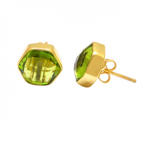 925 Sterling Silver Hexagon Shape Peridot Gemstone Gold Plated Stud Earrings