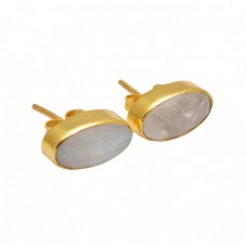 Oval Shape Rainbow Moonstone 925 Sterling Silver Gold Plated Stud Earrings