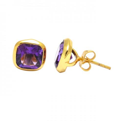 925 Sterling Silver Cushion Shape Amethyst Gemstone Gold Plated Stud Earrings