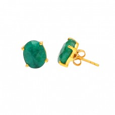 Prong Setting Oval Shape Emerald Gemstone 925 Sterling Silver Gold Plated Earrings