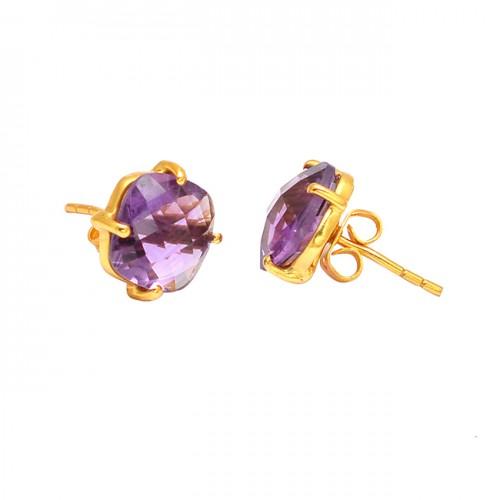 Prong Setting Amethyst Cushion Shape Gemstone Handmade Gold Plated Stud Earrings