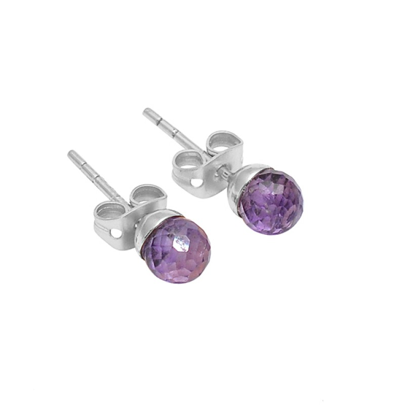 Round Balls Shape Amethyst Gemstone 925 Sterling Silver Gold Plated Stud Earrings