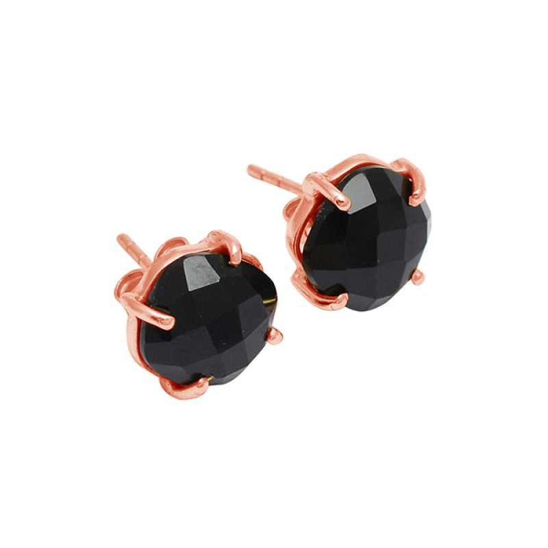 Prong Setting Black Onyx Round Shape Gemstone 925 Silver Gold Plated Earrings