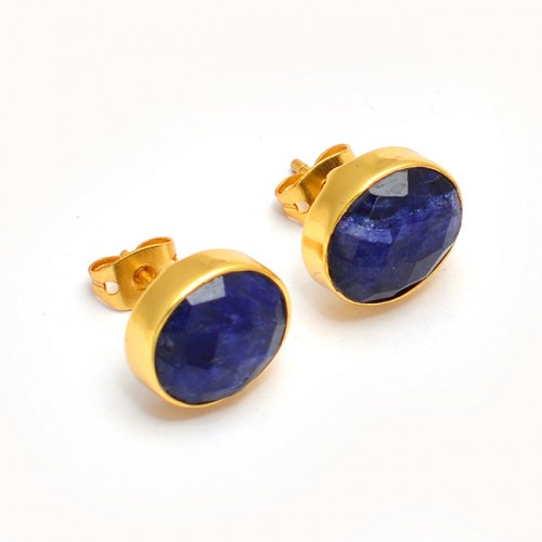 Briolette Oval Lapis Lazuli Gemstone Handmade Gold Plated Stud Earrings