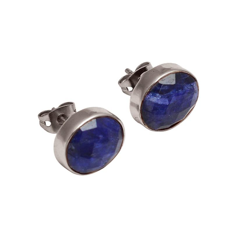 Briolette Oval Lapis Lazuli Gemstone Handmade Gold Plated Stud Earrings