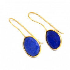 925 Sterling Silver Oval Shape Lapis Lazuli Gemstone Fixed Ear Wire Gold Plated Earrings