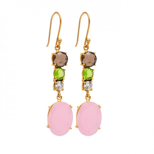 925 Sterling Silver Multi Color Gemstone Prong Setting Gold Plated Dangle Earrings