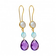 Amethyst Blue Topaz Moonstone 925 Sterling Silver Gold Plated Dangle Earrings