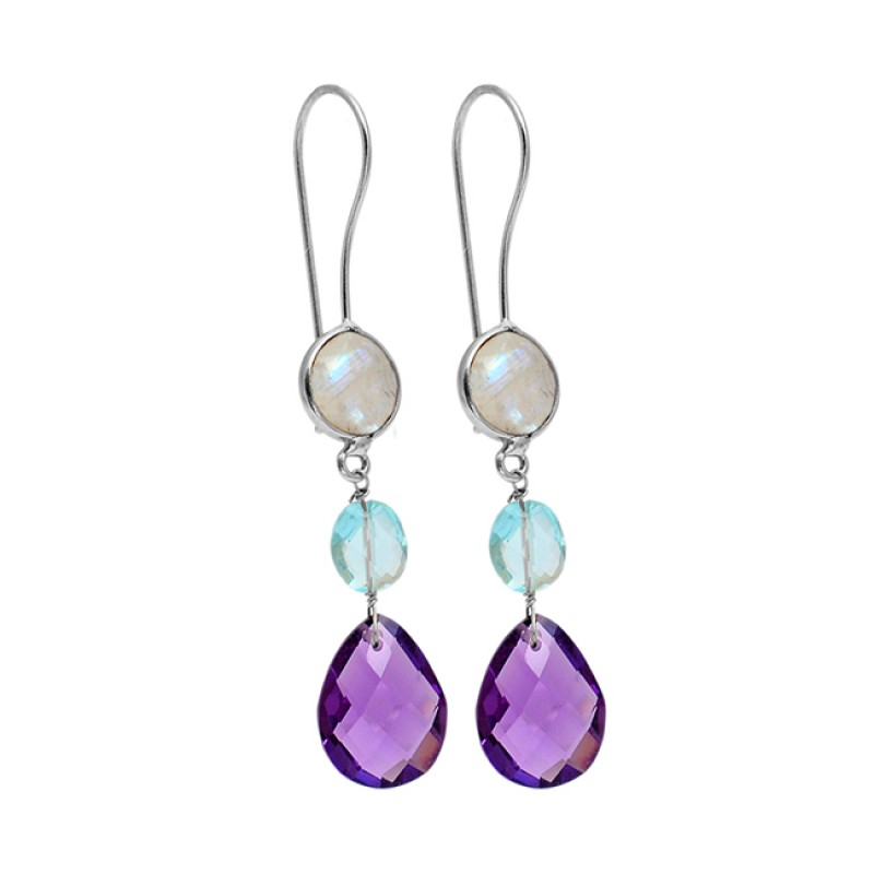 Amethyst Blue Topaz Moonstone 925 Sterling Silver Gold Plated Dangle Earrings