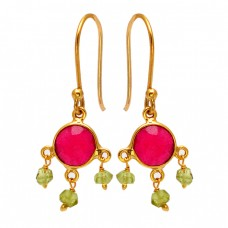 Ruby Peridot Gemstone 925 Sterling Silver Gold Plated Dangle Earrings