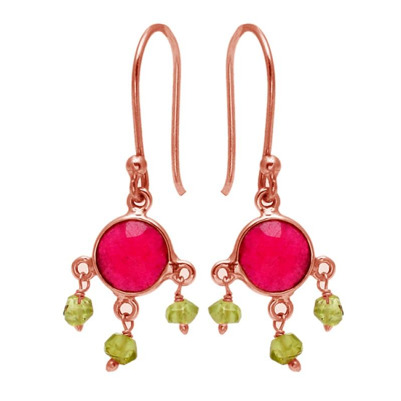 Ruby Peridot Gemstone 925 Sterling Silver Gold Plated Dangle Earrings