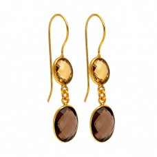 Oval Shape Citrin Smoky Quartz Gemstone 925 Sterling Silver Gold Plated Dangle Earrings