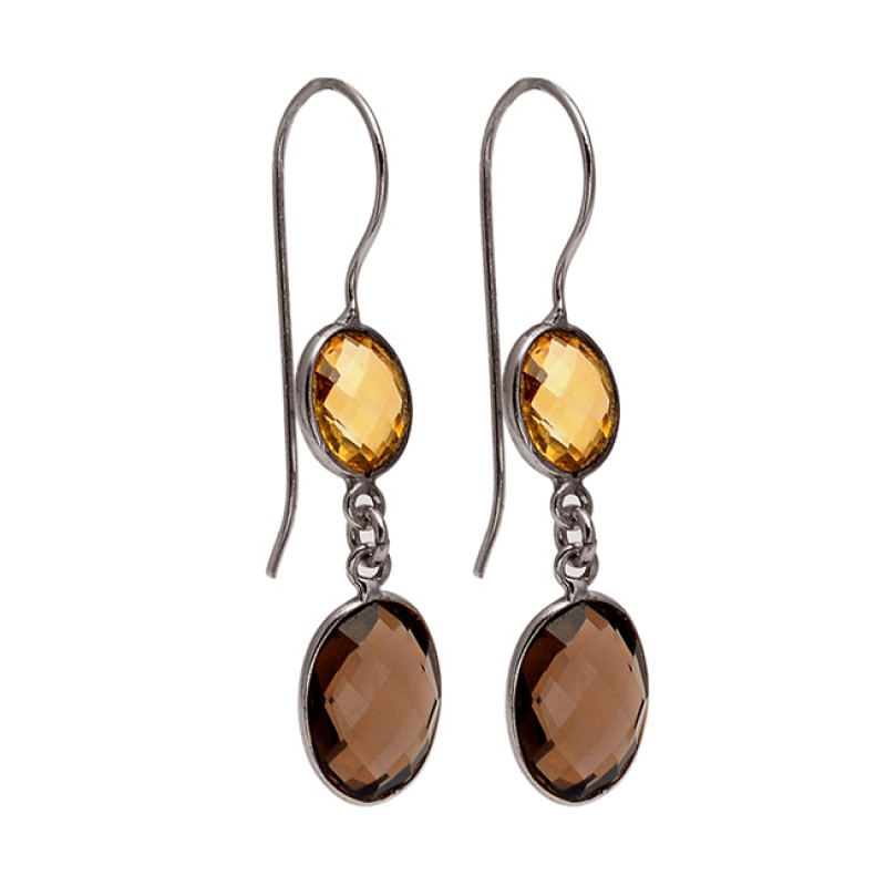 Oval Shape Citrin Smoky Quartz Gemstone 925 Sterling Silver Gold Plated Dangle Earrings