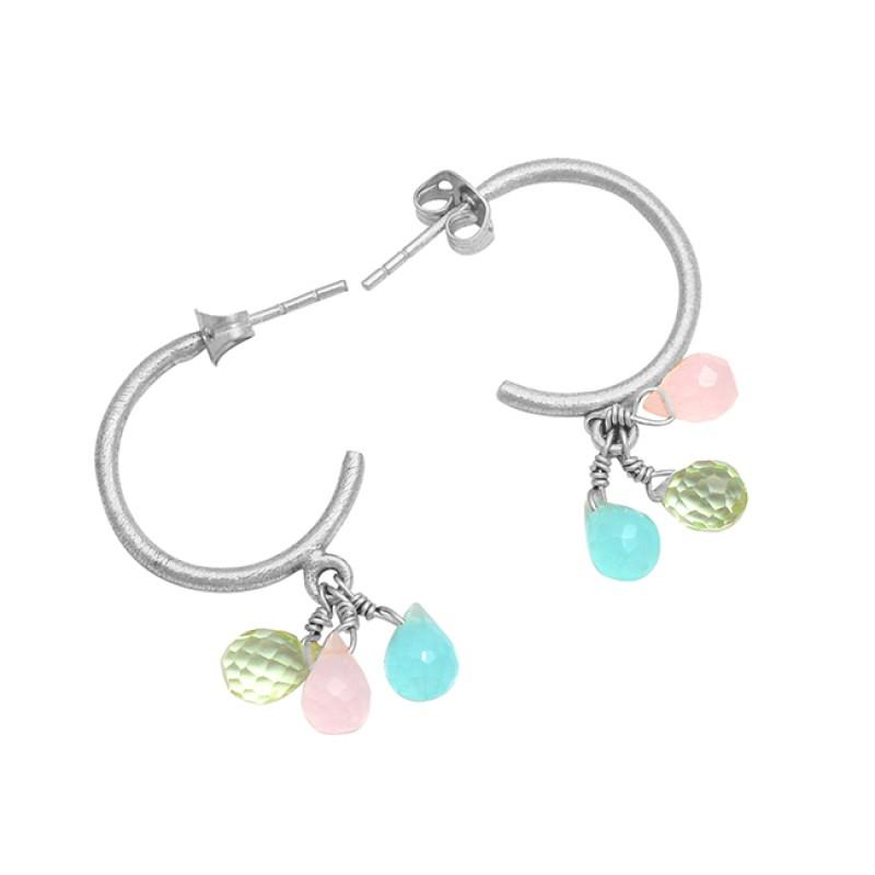 Green Amethyst Chalcedony Gemstone 925 Sterling Silver Gold Plated Hoop Earrings