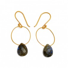 Briolette Pear Shape Labradorite Gemstone 925 Sterling Silver Gold Plated Earrings