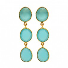Aqua Chalcedony Oval Shape Gemstone 925 Sterling Silver Gold Plated Stud Earrings