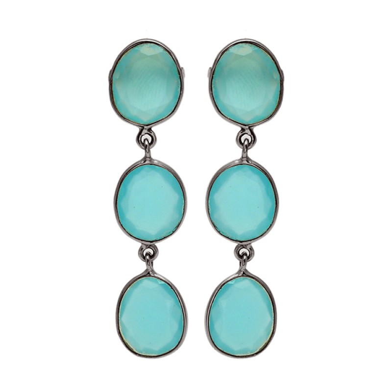 Aqua Chalcedony Oval Shape Gemstone 925 Sterling Silver Gold Plated Stud Earrings