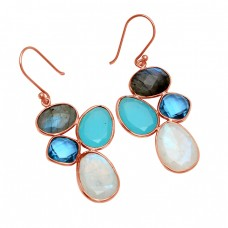 Labradorite Topaz Chalcedony Moonstone 925 Sterling Silver Gold Plated Earrings