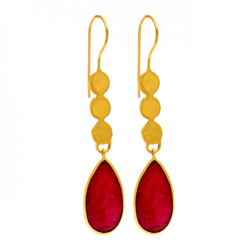 Handcrafted Pear Shape Ruby Gemstone Fixed Ear Wire Dangle Gold Plated Earrings