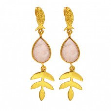 Rose Quartz Pear Shape Gemstone Gold Plated 925 Sterling Silver Earrings