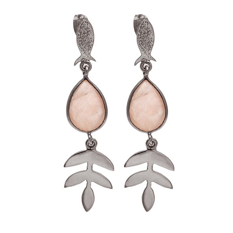 Rose Quartz Pear Shape Gemstone Gold Plated 925 Sterling Silver Earrings