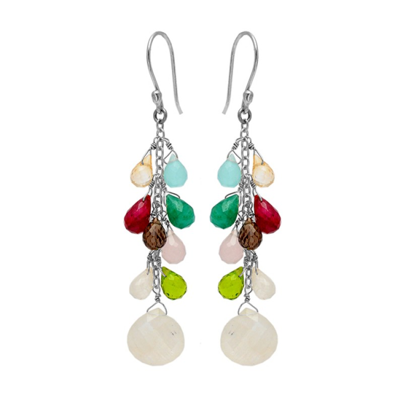 Stylish Pear Drops Heart Shape Multi Gemstone Gold Plated Chain Dangle Earrings