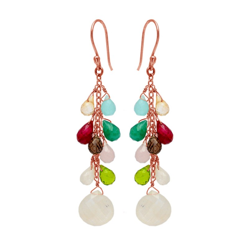 Stylish Pear Drops Heart Shape Multi Gemstone Gold Plated Chain Dangle Earrings