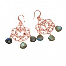 Heart Shape Labradorite Gemstone 925 Sterling Silver Gold Plated Dangle Earrings