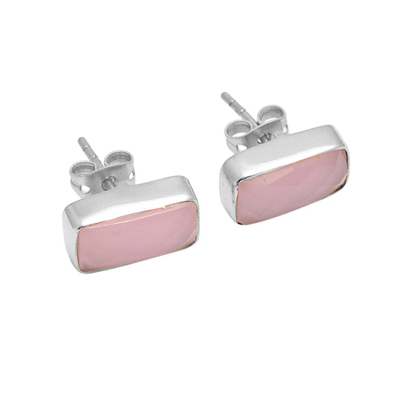 Rectangle Shape Rose Chalcedony Gemstone 925 Silver Gold Plated Stud Earrings