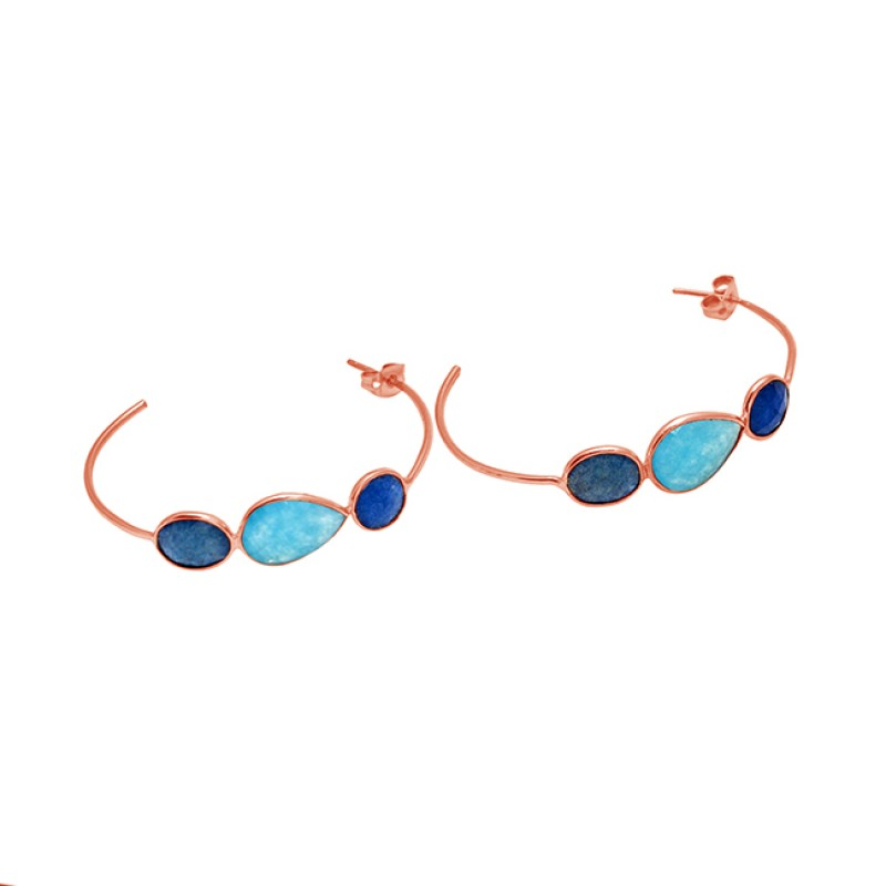 Oval Round Shape Chalcedony Gemstone Handcrafted Gold Plated Hoop Designer Earrings