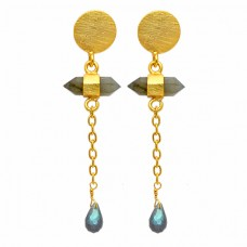 Labradorite Pear Pencil Shape Gemstone Hanging Chain Gold Plated Dangle Stud Earrings