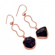 925 Sterling Silver Raw Material Amethyst Rough Gemstone Gold Plated Dangle Earrings