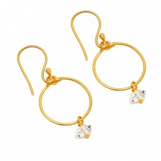 925 Sterling Silver Herkimer Diamond Gemstone Gold Plated Dangle Earrings