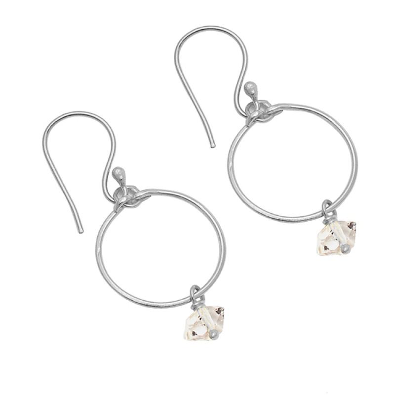 925 Sterling Silver Herkimer Diamond Gemstone Gold Plated Dangle Earrings