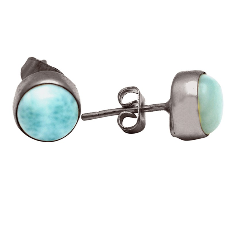 Round Shape Larimar Gemstone 925 Sterling Silver Gold Plated Stud Earrings