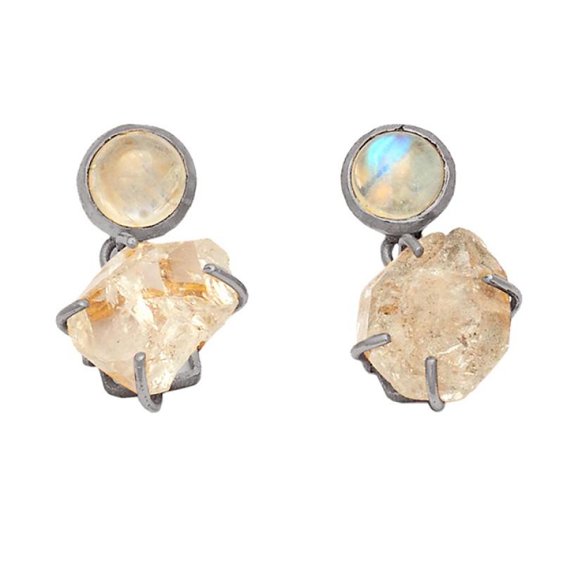 Rainbow Moonstone Herkimer Diamond Gemstone 925 Silver Gold Plated Stud Earrings