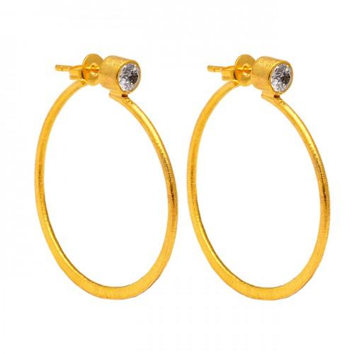 Herkimer Diamond Round Shape Gemstone 925 Silver Gold Plated Hoop Earrings