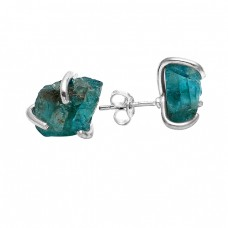 Raw Material Blue Apatite Rough Gemstone Handmade 925 Silver Stud Earrings