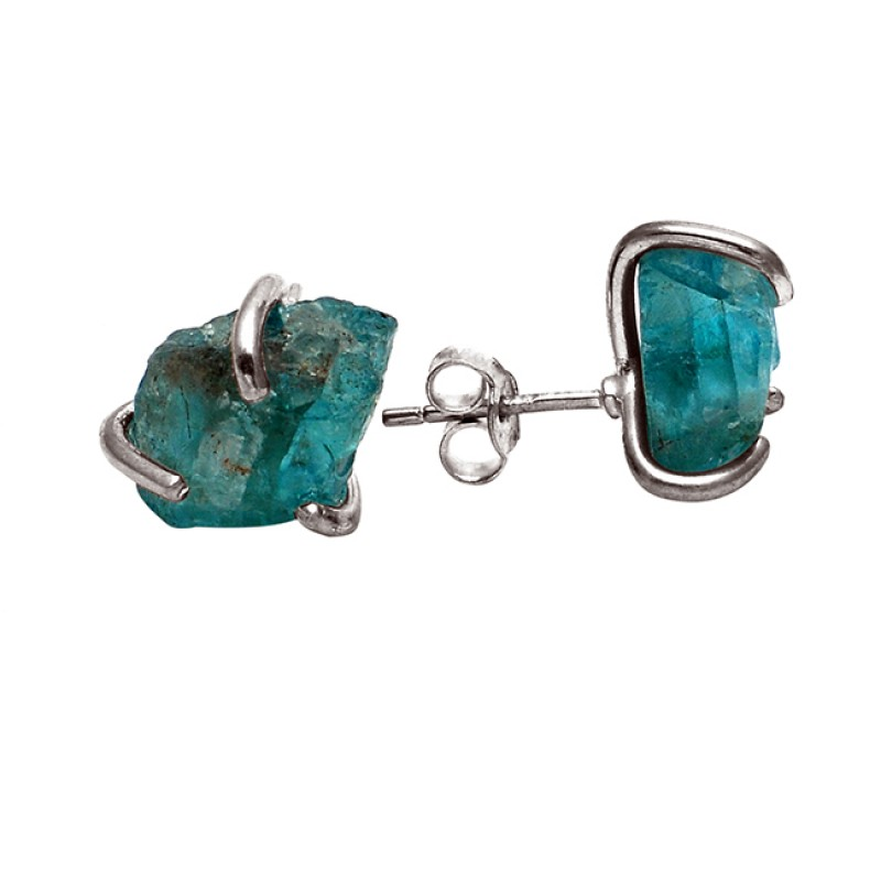 Raw Material Blue Apatite Rough Gemstone Handmade 925 Silver Stud Earrings