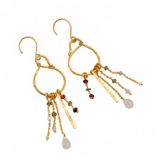 925 Sterling Silver Moonstone Multi Color Gemstone Gold Plated Dangle Earrings