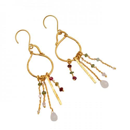 925 Sterling Silver Moonstone Multi Color Gemstone Gold Plated Dangle Earrings